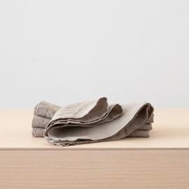 Serviette de table en lin effet délavé Taupe