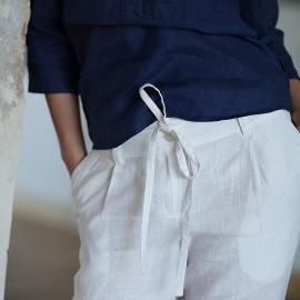 Pantalon en lin blanc Daniela