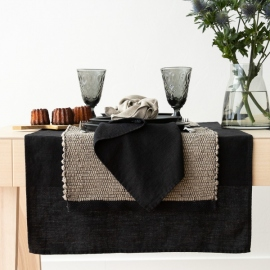 Serviette de Table en Lin Black Lara