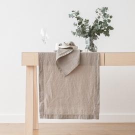 Chemin de table, effet délavé, en lin, couleur Taupe