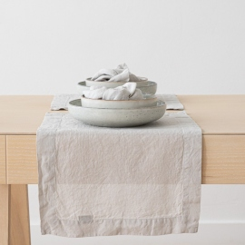 Set de Table en Lin Stone Washed Argent