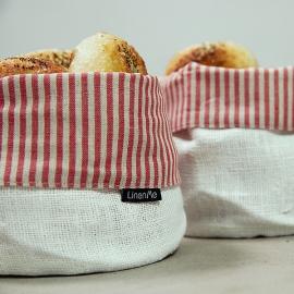 Panier Jazz en lin et coton à rayures rouges blanc