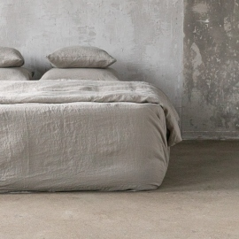 Taupe Drap Housse en Lin Stone Washed