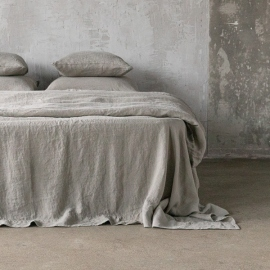 Taupe Drap Plat en Lin Stone Washed