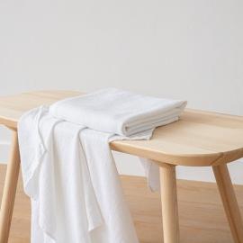 Drap de bain Lin Washed Waffle Blanc Optique