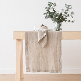 Chemin de table, effet délavé, en lin, couleur Naturel