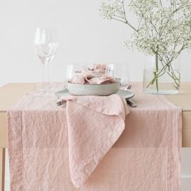 Chemin de table, effet délavé, en lin, couleur Rosa