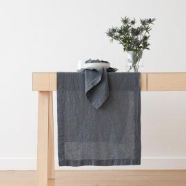 Chemin de table en lin, effet délavé Bleu