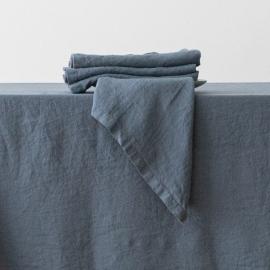 Serviette de table en lin effet délavée Blue