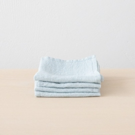 Lot de 4 Serviette de Toilette Ice Blue Lin Washed Waffle