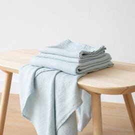 Ice Blue Serviettes de Bain Texure Gaufrée en Lin et Serviettes Lavé