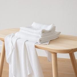 Optical White Serviettes de Bain Texure Gaufrée en Lin et Serviettes Lavé