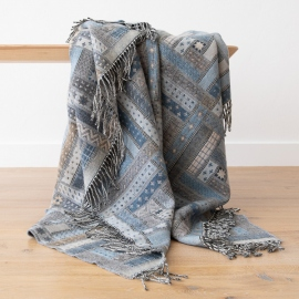 Plaid en laine Mérinos Marta Blue / Grey