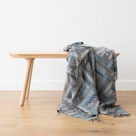 Plaid en laine Mérinos Marta Blue / Grey