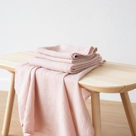 Rosa Serviettes de Bain Texure Gaufrée en Lin et Serviettes Lavé