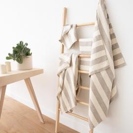 Crème Naturelle Ensemble de serviettes de bain en lin Philippe