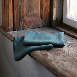 Balsam Vert Lot de 2 Serviettes de Toilette en Lin Lara
