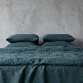 Vert Taie D'Oreiller en Lin Stone Washed