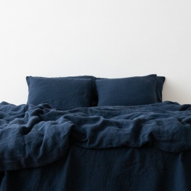 Navy Blue Taie D'Oreiller en Lin Stone Washed