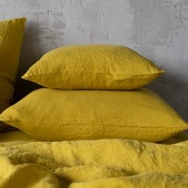 Taie d'oreiller en lin lavé citrine