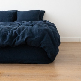 Navy Blue Drap housse en Lin Stone Washed