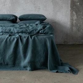 Balsam Vert Drap Plat en Lin Stone Washed