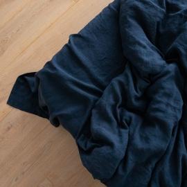 Drap plat en lin lavé navy blue