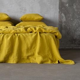 Drap plat en lin lavé citrine