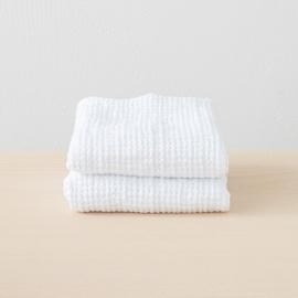2 Serviettes de Toilette Nid d'abeille White