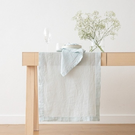 Chemin de Table en Lin Stone Washed Ice Blue