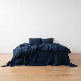 Navy Blue Toile de Lin Stone Washed