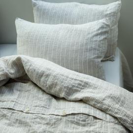 Taie d'oreiller en lin lavé Multistripe natural white