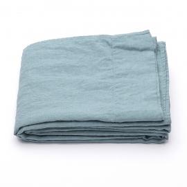 Drap plat en lin lavé Stone Blue