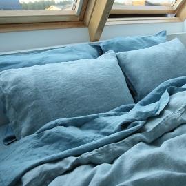 Taie d'oreiller en lin lavé rhomb stone blue