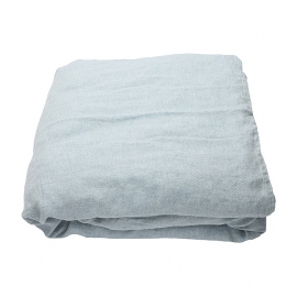 Stone Blue Drap Housse en Lin Stone Washed Rhomb