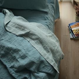 Drap plat en lin lavé rhomb stone blue