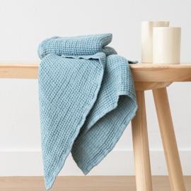 2 Serviettes de Toilette Nid d'abeille Stone Blue