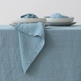 Serviettede Table en Lin Effet Délavé Stone Blue
