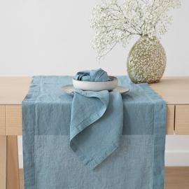 Chemin de table, effet délavé, en lin, Stone Blue