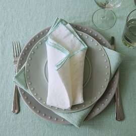 Serviette de table en lin Venezia Off White