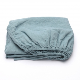 Stone Blue Drap Housse en Lin Stone Washed