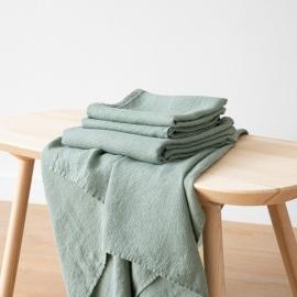 Spa Green Serviettes de Bain Texure Gaufrée en Lin et Serviettes Lavé