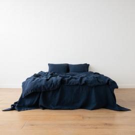 Parure de lit en lin lavé Navy Blue