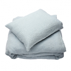 Parure de lit en lin lavé Rhomb Stone Blue