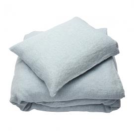 Stone Blue Parure de lit en lin lavé Stone Washed Rhomb