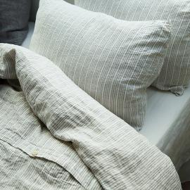 Parure de lit en lin Multistripe Naturel/White