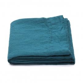 Drap plat en lin lavé Marine Blue