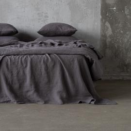 Steel Gris Drap Plat en Lin Stone Washed