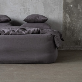 Steel Gris Drap Housse en Lin Stone Washed