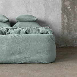 Spa Grey Drap Housse en Lin Stone Washed